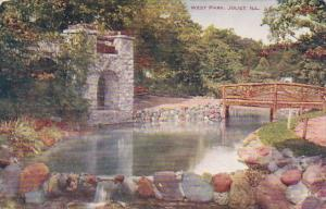 Illinois Joliet Rustic Bridge and Spring House In West Park