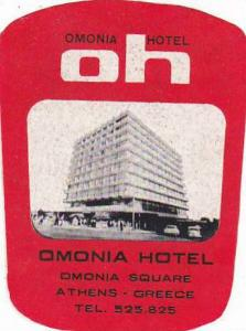 GREECE ATHENS OMONIA HOTEL VINTAGE LUGGAGE LABEL