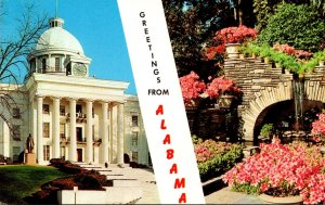 Alabama Greetings Showing State Capitol and Bellingrath Gardens