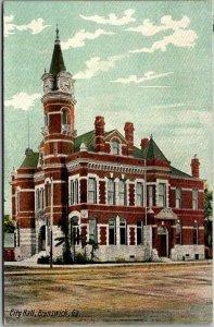 Brunswick, Georgia Postcard City Hall Building, Street View American News c1910s