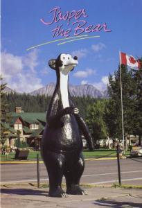 Jasper The Bear Statue Jasper AB Alberta Canadian Rockies Bears Postcard D18