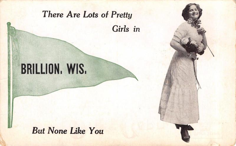 Lots of Pretty Girls in Brillion WI~Fashion Lady~None Like~1913 Pennant PC