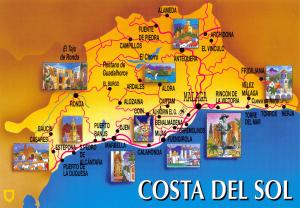 NEW Costa Del Sol, Spain, Map Postcard #618