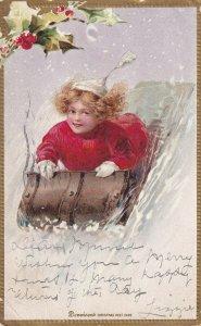 CHRISTMAS, PU-1906; Girl On A Sled