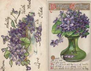 Purple Raised 3D Flowers From Sally 2x Antique Postcard s