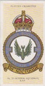 Player Vintage Cigarette Card R A F Badges N0 27 No 39 Bomber Squadron  1937