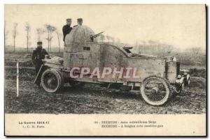 Old Postcard Army in Belgium near Dixmude Auto Belgian machine gun