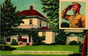 Lot Of 6 Abiline Kansas KS Eisenhower Home Vtg Chrome & Linen Postcards