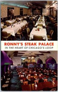 Chicago, Illinois Postcard RONNY'S STEAK PALACE Restaurant Loop c1960s Unused