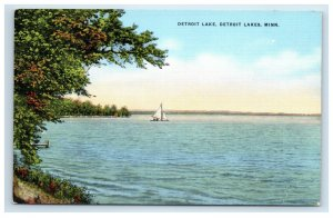 Detroit Lake MN Postcard Sailboat Linen Northern Pacific Railroad Advertising
