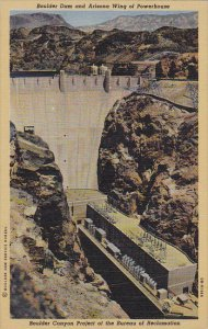 Boulder Dam and Arizona Wing of Powerhouse Nevada Curteich