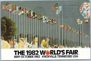 postcard 1982 World's Fair - Court of Flags artist rendition Knoxville Tennessee
