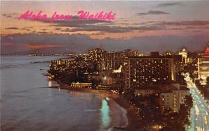 Honolulu Hawaii~Waikiki View @ Dusk~1970s Time Lapse Postcard