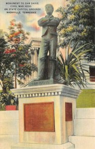 LP44 Nashville Tennessee Postcard Civil War Monument Capitol Grounds Sam Davis