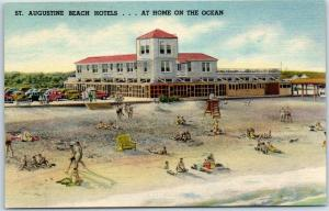 St. Augustine Florida Postcard BEACH HOTELS - At Home on the Ocean Linen 1940s