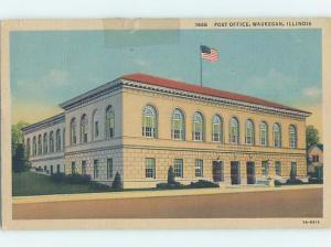 Linen POST OFFICE SCENE Waukegan - Near Chicago Illinois IL d8879