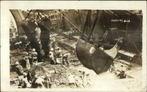 Hampton Roads PA Naval Operating Base 1919 SHOVEL Shovel Buckets Men RPPC