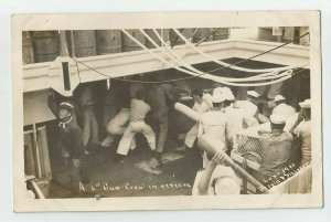 POSTCARD ~ Sailors ~US Navy ~ GUN CREW IN ACTION ~  White Fleet ~ Circa 1909