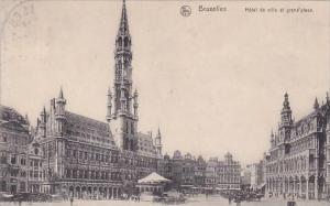 Belgium Brussells Bruxelles Hotel De Ville Et Grand Place 1914
