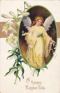 EASTER; A happy Easter-Tide, Angel, Lillies, Gold detail, PU-1909