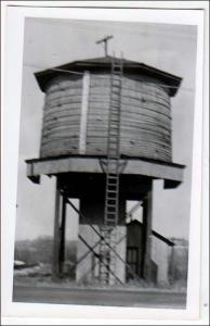 NY - Farnham. RPPC, Railroad Water Tower, 1945