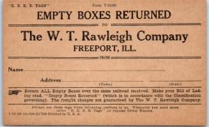 Freeport, Illinois Adv. Postcard Empty Boxes Returned W.T. Rawleigh Co. c1920s