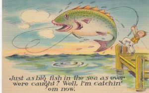 Exaggeration Fishing Comic Postcard , 30-40s : #5
