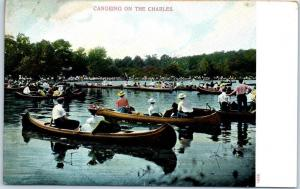 Boston, Massachusetts Postcard CANOEING ON THE CHARLES River Boating c1900s