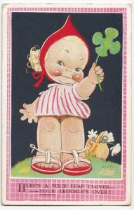 Mabel Lucie Attwell; Heres a 4 Leaf Clover, Your Troubles Over PPC, 1940 PMK