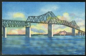 SC Charleston Grace Memorial Cooper River Bridge 1952 Curteich Postcard