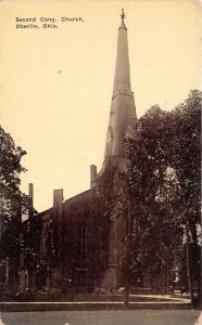 Oberlin Ohio~Second Congregational Church~Bicycle by Steps~c1910 B&W Postcard