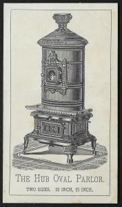 VICTORIAN TRADE CARD Hub Oval Parlor Stove Etching of Stove