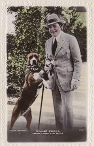 William Farnum- Beagles Real Photo Postcard 111C - Posed with his Dog