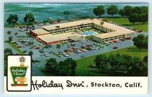 STOCKTON, CA California Roadside HOLIDAY INN c1960s Cars  Postcard