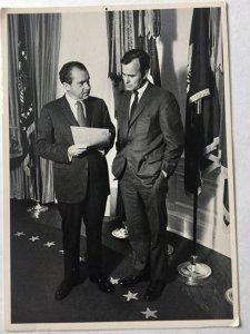Richard Nixon and George H.W. Bush photo postcard