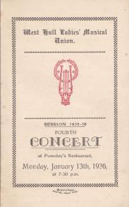 Powolnys Restaurant Hull Yorkshire Old Ladies Union Music Concert Programme