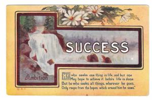 Vintage Motto Postcard Success Ambition Waterfall Scene