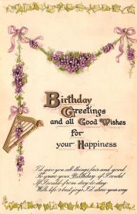 TUCK Birthday~Gold Harp Hangs From Violets Garland~Lavender Ribbon~White~Emboss
