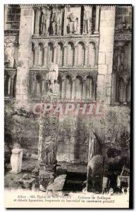 Souvigny Old Postcard Column details of the zodiac and Byzantine fragments of...