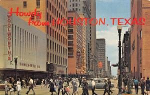 Houston Texas~Main Street Howdy~FW Woolworth~Krupp & Tuffley~1965 Postcard