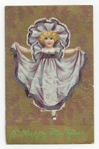 TUCK #139; NEW YEAR, PU-1908; Little Girl wearing lavender gown and hat