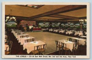Postcard NY New York City The Lorelei Restaurant Dining & Dance Floor Linen N7