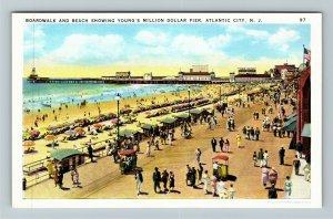 Atlantic City NJ-New Jersey Boardwalk Beach Million Dollar Pier Vintage Postcard