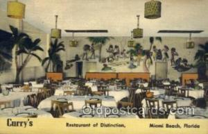 Miami Beach, FL USA Curry's Restaurant Old Vintage Antique Postcard Post Card...