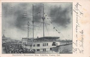 Marchetti's Restaurant Ship, Cabrillo, Venice, California, 1906 Postcard, Used