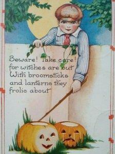 Vintage Halloween Postcard Whitney Boy Behind Fence JOL Hyattsville MD Original