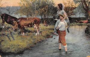 Barclay Maryland Greetings Cow Milking Vintage Postcard JE228268