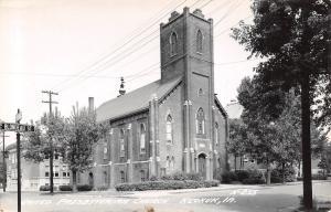 Keokuk Iowa~United Presbyterian Church~Blondeau Street Sign~1940s RPPC