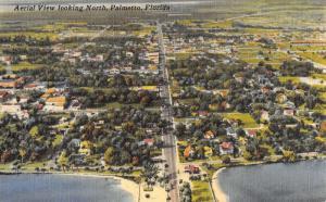 Palmetto Florida Aerial View Of City Linen Antique Postcard K21307