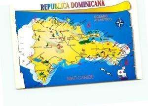 Postcard Map Republica Dominicana Oceano Atlantico 2004  # 3791A